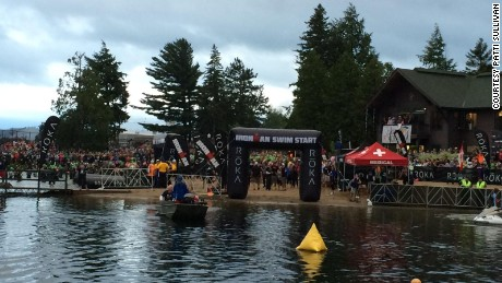 The start of the annual Ironman triathlon in Lake Placid, New York.