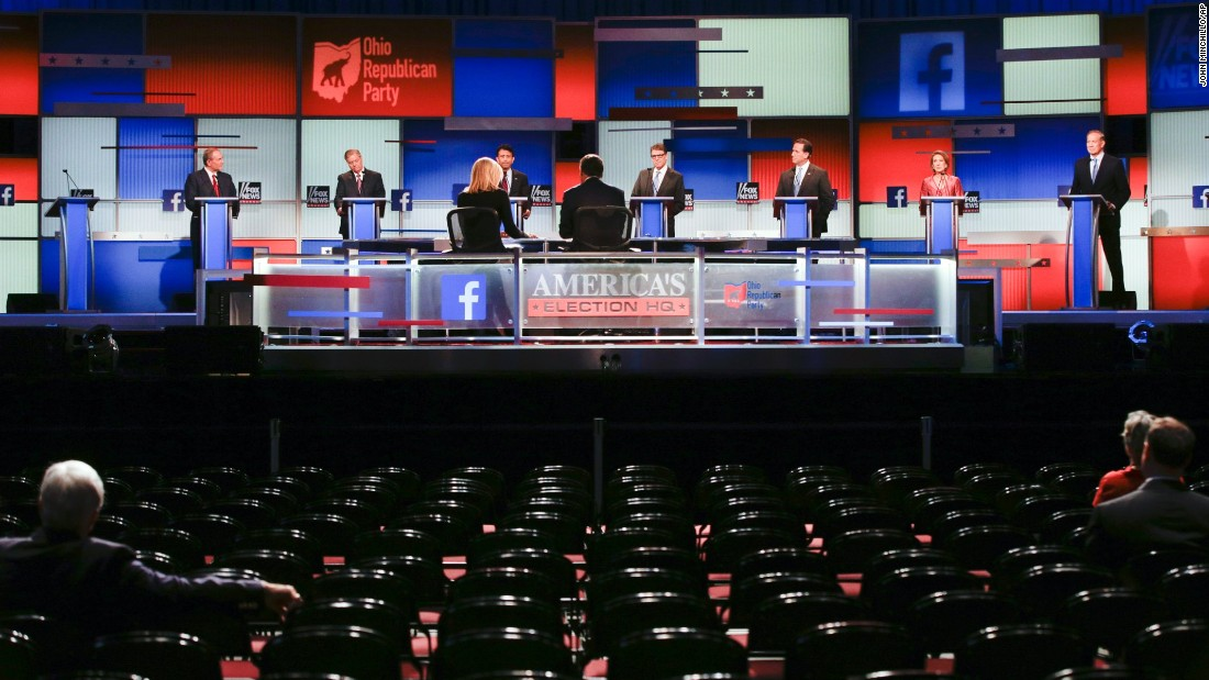 The race to become the next Republican presidential nominee kicked off with the seven lowest-polling candidates taking the stage in Cleveland, Ohio, on Thursday, August 6. From left: Jim Gilmore, Lindsey Graham, Bobby Jindal, Rick Perry, Rick Santorum, Carly Fiorina and George Pataki.