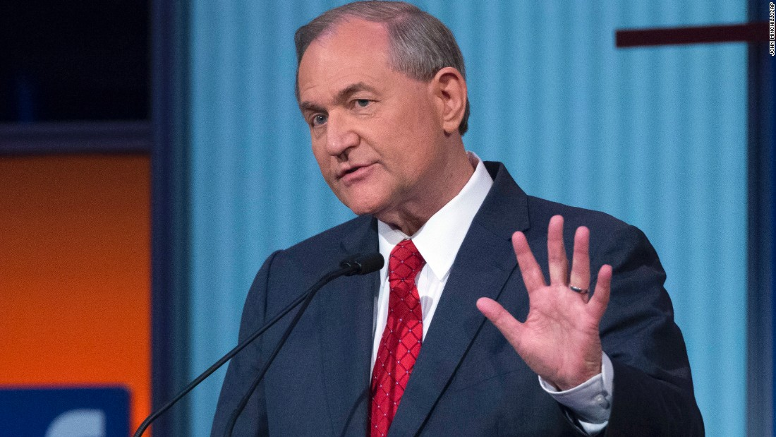 Former Virginia Gov. Jim Gilmore speaks during a predebate forum. Gilmore previously chaired a national advisory panel to assess U.S. capabilities to respond to terrorism involving weapons of mass destruction.