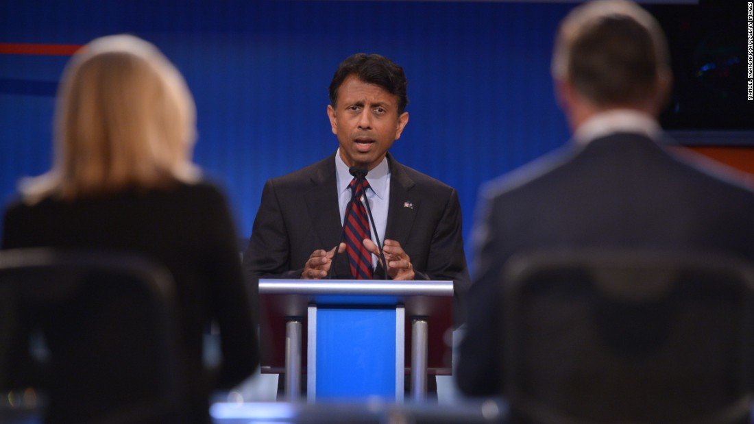 Republican presidential hopeful Louisiana Gov. Bobby Jindal speaks during the debate. Jindal is the country's first Indian-American governor.