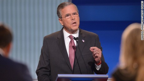 Republican presidential hopeful Jeb Bush speaks during the prime time Republican presidential primary debate on August 6, 2015 at the Quicken Loans Arena in Cleveland, Ohio. AFP PHOTO/MANDEL NGAN        (Photo credit should read MANDEL NGAN/AFP/Getty Images)