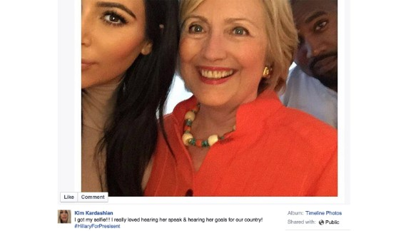 """Television personality Kim Kardashian endorsed Clinton in a Facebook post shortly after the first GOP debate wrapped in August.  She took a selfie with Clinton, writing, """"I got my selfie!!! I really loved hearing her speak & hearing her goals for our country! #HillaryForPresident."""""""