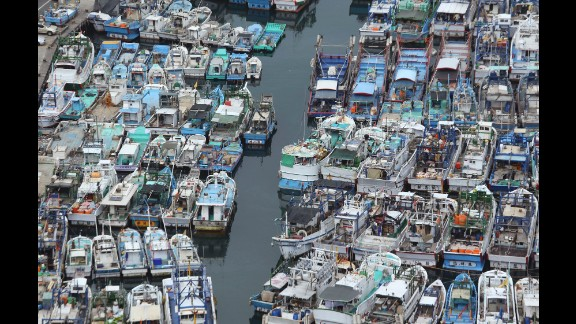 Fishing boats are secured in a port in Yilan County, Taiwan, on August 6.