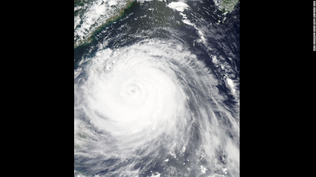 NASA's Aqua satellite captured this image of Typhoon Soudelor on August 7 as it approached Taiwan.