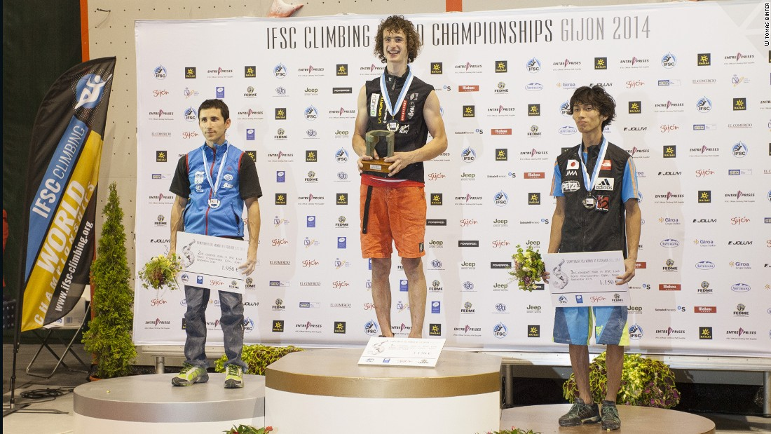 Ondra on top of the podium at the 2014 World Championships in Gijon, Spain.