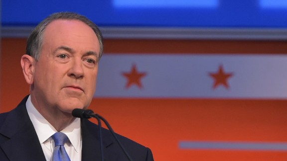Former Arkansas governer Mike Huckabee participates in the Republican presidential primary debate on August 6, 2015 at the Quicken Loans Arena in Cleveland, Ohio.