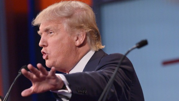 Real estate tycoon Donald Trump speaks during the prime time Republican presidential debate on August 6, 2015 at the Quicken Loans Arena in Cleveland, Ohio. AFP PHOTO/MANDEL NGAN        (Photo credit should read MANDEL NGAN/AFP/Getty Images)