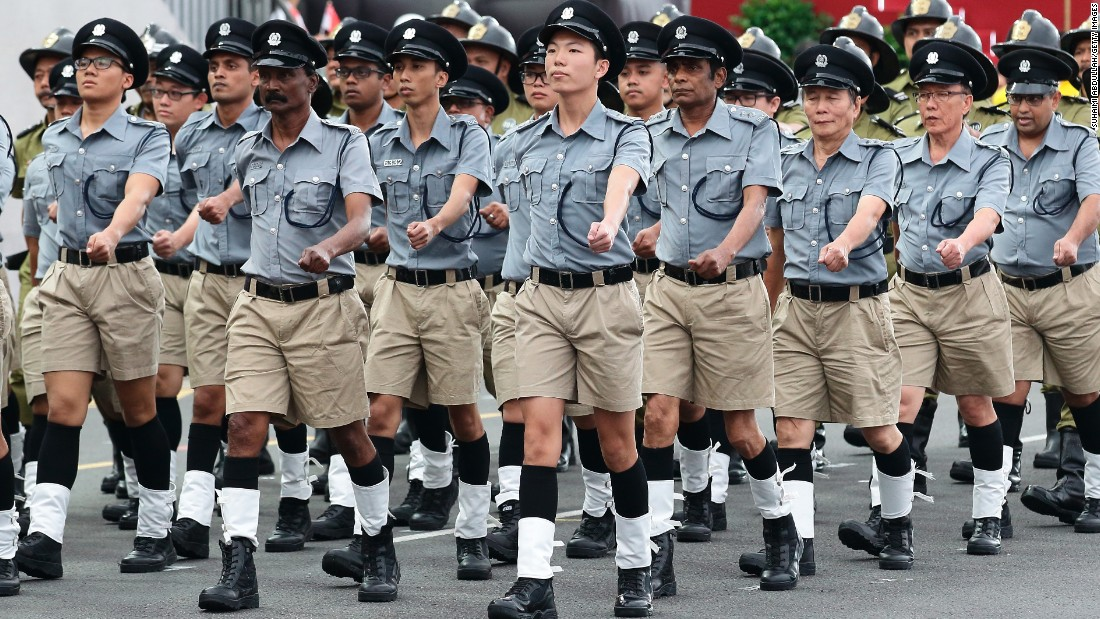The Singapore Police Force vintage contingent marches in the National Day Parade.
