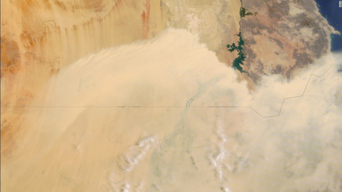 A wall of dust blows north from Sudan toward southern Egypt. This image was taken by NASA's Terra satellite on August 6.