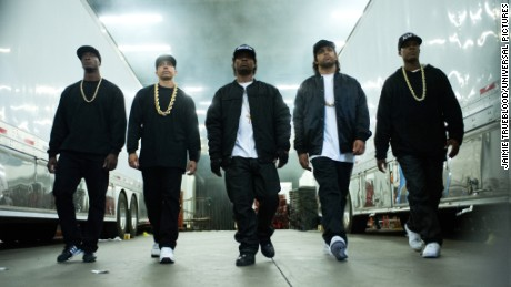 "From left, Neil Brown Jr., Aldis Hodge, Corey Hawkins, Jason Mitchell and O'Shea Jackson Jr. in ""Straight Outta Compton."""