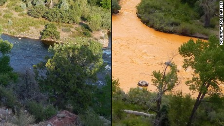 Bartles took before and after photos of the Animas River from his backyard.