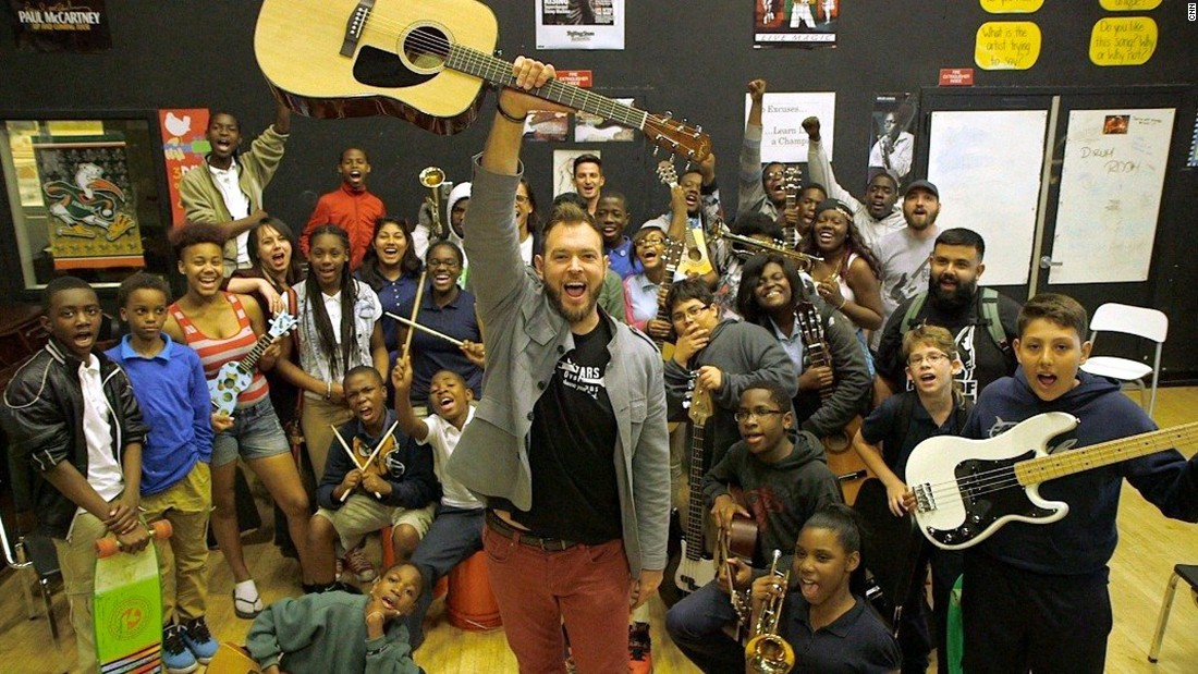 "Musician <a href=""http://www.cnn.com/2015/04/02/living/cnnheroes-bernstein/index.html"" target=""_blank"">Chad Bernstein's</a> nonprofit, Guitars Over Guns, pairs kids with professional musician mentors in two of Miami's poorest communities. He says his group has seen more than a 90% increase in academic performance and school attendance of students in the program."