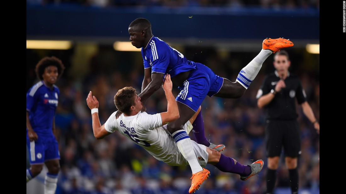 Kurt Zouma of Chelsea smashes into Ricardo Bagadur of Fiorentina during a preseason friendly match between Chelsea and Fiorentina on Wednesday, August 5, in London.