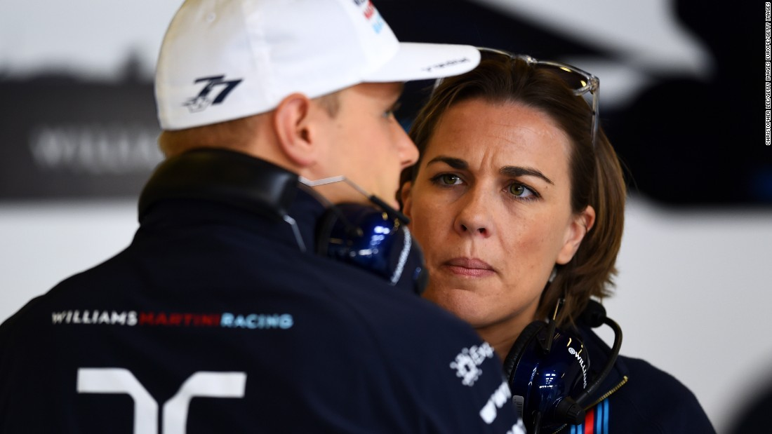 """Sexism in Formula One? No. I have never, hand on heart, experienced it,"" says Williams, seen here with one of the team's drivers, Valtteri Bottas, in 2015. ""As a sport I actually think that we do do quite a lot to promote women."""