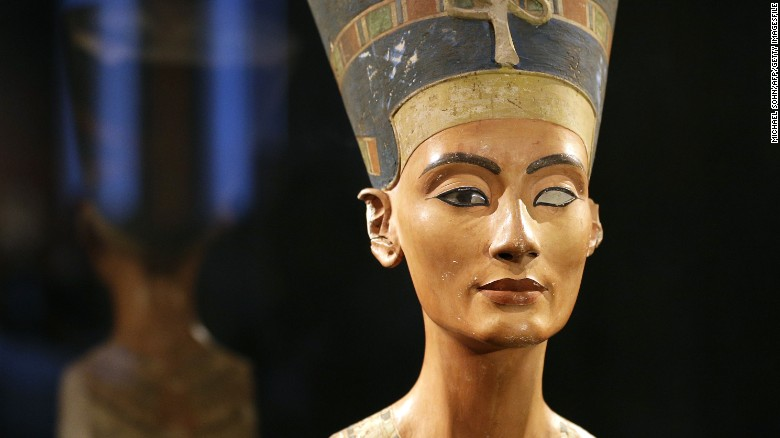 RESTRICTED TO EDITORIAL USE, MANDATORY CREDIT OF THE ARTIST, TO ILLUSTRATE THE EVENT AS SPECIFIED IN THE CAPTIONS   The Nefertiti bust is pictured during a press preview of the exhibition 'In The Light Of Amarna' to mark the 100 years of the Nefertiti bust discovery at the Neues Museum (New Museum) in Berlin, on December 5, 2012. The exhibition runs from December 6, 2012 to April 13, 2012.    AFP PHOTO / MICHAEL SOHN        (Photo credit should read MICHAEL SOHN/AFP/Getty Images)
