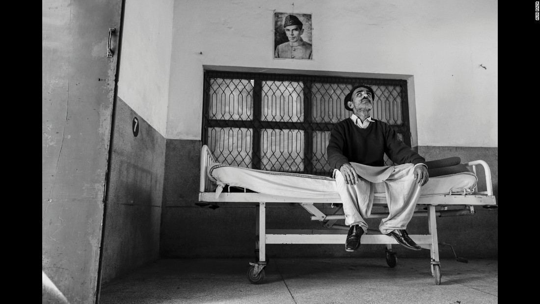 A man sits in the hospital's rehabilitation center.