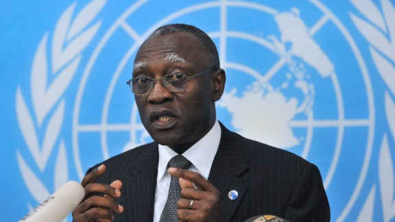 Babacar Gaye, the head of U.N. peacekeepers in the Central African Republic, resigned at the request of Secretary General Ban Ki-moon.