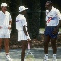 Richard and Venus Williams training