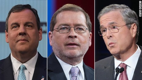 From left, Chris Christie, Grover Norquist and Jeb Bush are pictured.