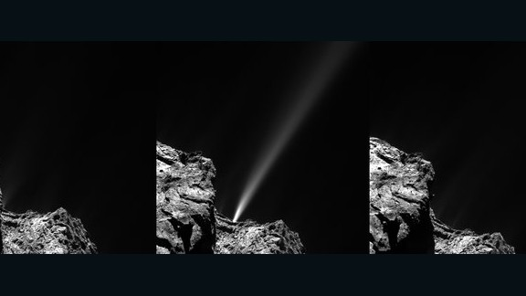 The Rosetta spacecraft captured this image of a jet of white debris spraying from Comet 67P/Churyumov--Gerasimenko on July 29, 2015. Mission scientists said this was the brightest jet seen to date in the mission. The debris is mostly of ice coated with dark organic material.