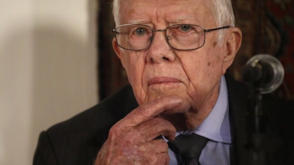Former U.S. president Jimmy Carter, member of The Elders group of retired prominent world figures, listens as he addresses journalists during a press conference in an hotel in Jerusalem, on May 2, 2015, after a two-day-visit in Israel and the West Bank.