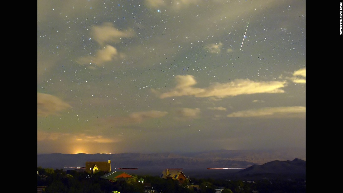 A Perseid meteor streaks across the sky over the Spring Mountains National Recreation Area in Nevada on August 12.