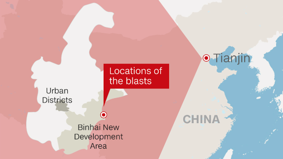 The explosions took place outside Tianjin's downtown district in the eastern industrial zone.