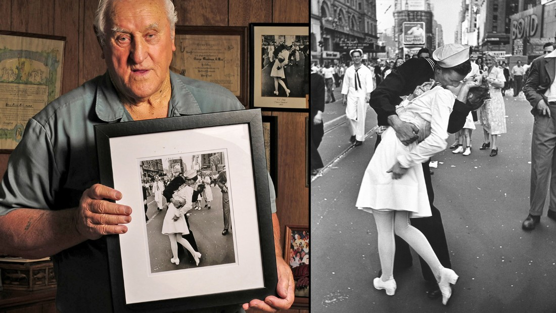 World War II veteran George Mendonsa of Rhode Island claims he's the sailor in the iconic 1945 Life Magazine photo of a couple smooching in Time Square.