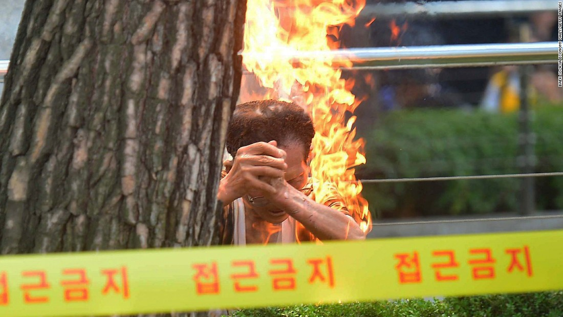 "An 80-year-old man <a href=""http://www.cnn.com/2015/08/12/asia/south-korea-comfort-women-protest-self-immolation/"">sets himself on fire</a> Wednesday, August 12, during a protest outside the Japanese Embassy in Seoul, South Korea. The unidentified man was attending a demonstration over Japanese soldiers' use of Korean women as sex slaves in the 1930s and 40s.<br />"