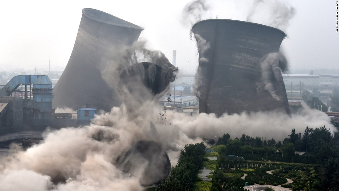 Seven coal-fired units are demolished in Chiping County, China, on Tuesday, August 11. The local government has been cleaning up illegal construction since last October.