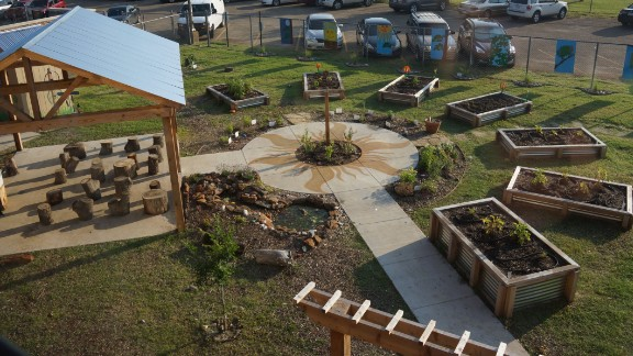 Students at Sudie L. Williams in Dallas Texas have their math, science, and language arts classes in their school garden. Credit: Jeff Cross