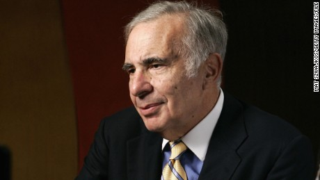 "Financier Carl Icahn is seen being interviewed at ""David Moore's Funny Business Show"" at Caroline's on Broadway on November 2, 2005, in New York."