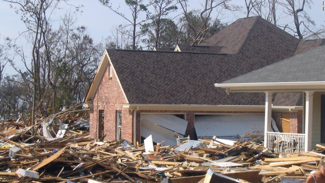 Hurricane Katrina's storm surge -- up to 18-feet high -- destroyed homes in Long Beach, Mississippi.  These photos are from the Destiny Oaks neighborhood, where I once lived.