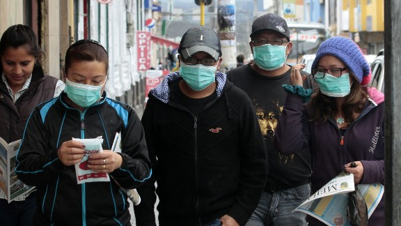 Residents of Machachi, Ecuador wear masks Friday afternoon.