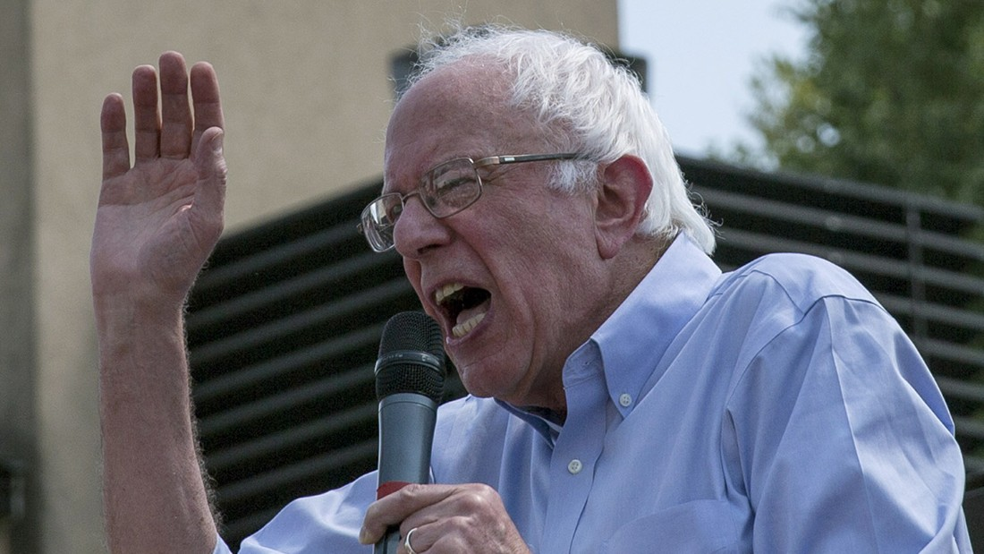 Democratic presidential candidate U.S. Sen. Bernie Sanders (I-VT) speaks at the Des Moines Register Soapbox at the Iowa State Fair on August 15, 2015.