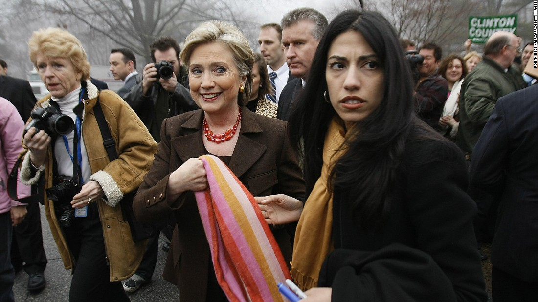 Abedin (right) accompanies then-Democratic presidential hopeful Sen. Hillary Clinton (D-New York) after Clinton voted in the Democratic primary election on February 5, 2008 in Chappaqua, New York.