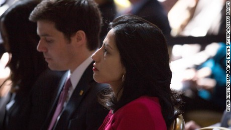 Clinton aide Huma Abedin watched as democratic presidential hopeful and former Secretary of State Hillary Clinton speaks during the David N. Dinkins Leadership and Public Policy Forum at Columbia University April 29, 2015 in New York City. Clinton addressed the unrest in Baltimore and called for police body cameras and a reform to sentencing.