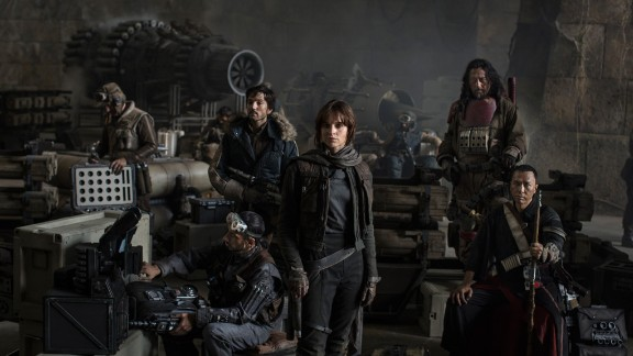 Star Wars: Rogue One. Left to Right: Actors Riz Ahmed, Diego Luna, Felicity Jones, Jiang Wen and Donnie Yen.