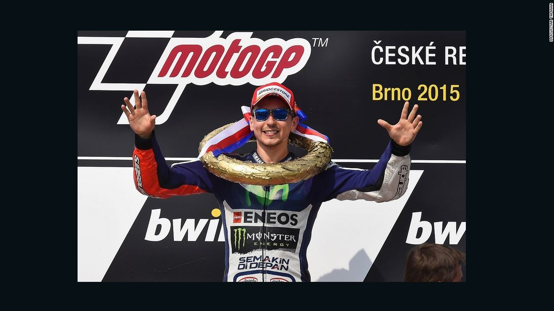 Lorenzo's victory in the Czech MotoGP drew him level with teammate Rossi at the top of the standings in a tight title race which was decided in the final round.