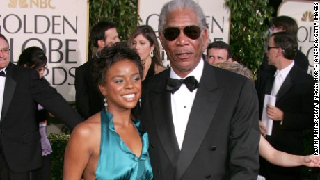 BEVERLY HILLS, CA - JANUARY 16:  Actor Morgan Freeman and step granddaughter E'Dena Hines arrive to the 62nd Annual Golden Globe Awards at the Beverly Hilton Hotel January 16, 2005 in Beverly Hills, California.  (Photo by Kevin Winter/Getty Images)