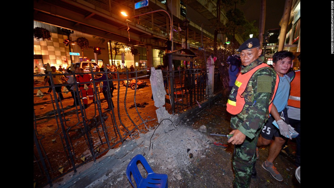 A Thai soldier stands guard at the scene of the blast.
