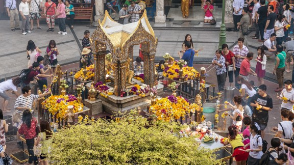 A worshipper at the Erawan Shrine in Bangkok, as seen in a file image from 2013.