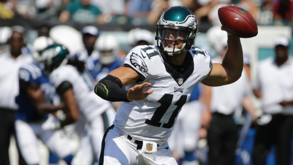 Tebow throws a pass for the Philadelphia Eagles during a 2015 preseason game. The team released him later that year. The Eagles were the fourth NFL team for Tebow.