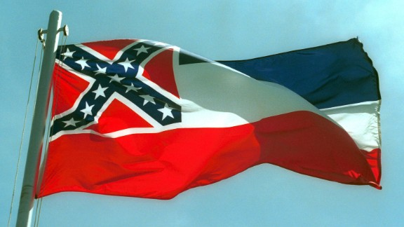387975 02:  The Mississippi State flags flies April 17, 2001 in Pascagoula, MS. Voters will decide whether to replace the state