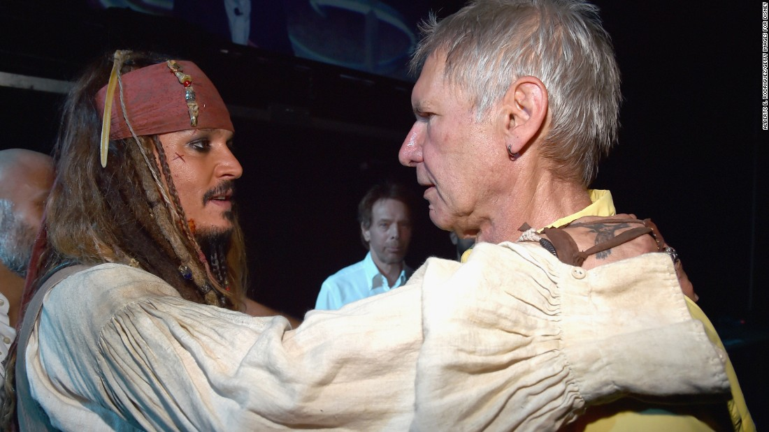 "Is this a bromance in the making? When Captain Jack Sparrow meets Han Solo, it certainly is, at least in our dreams. Johnny Depp (in full Captain Jack regalia) came face to face with Harrison Ford on Saturday, August 15 at Disney's D23 Expo (promoting the next ""Pirates of the Caribbean"" and the next ""Star Wars,"" respectively), and the photo quickly went viral. If only we were a fly on the wall ..."