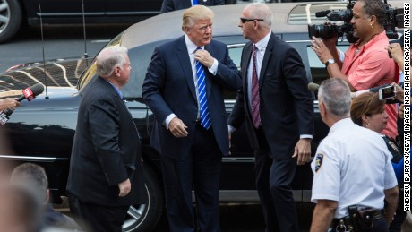 Trump arrives at Manhattan Supreme Court to report for jury duty on August 17, 2015 in New York City.