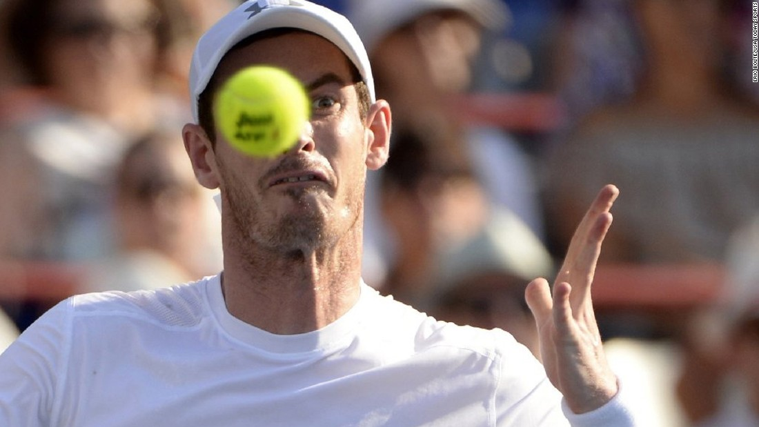 Andy Murray hits a shot during the final of the Rogers Cup tournament in Montreal on Sunday, August 16. Murray defeated Novak Djokovic in three sets.