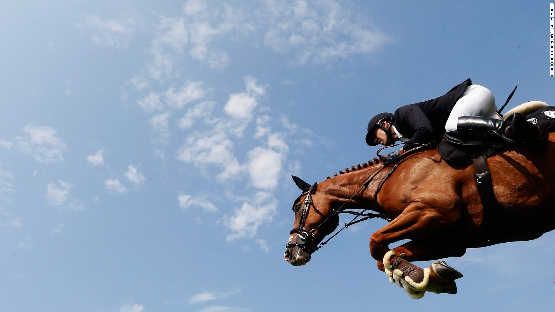 Simon Delestre, riding Chesall, competes in a show-jumping event in Valkenswaard, Netherlands, on Thursday, August 13.