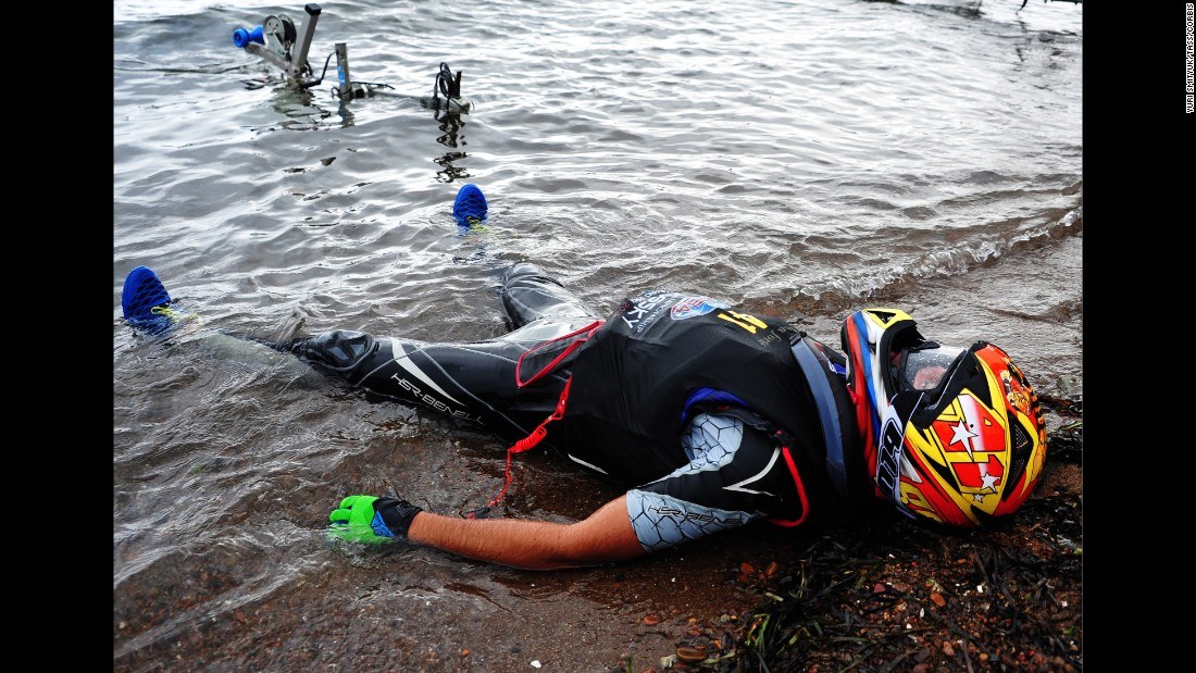 Jet ski rider Christian D'Agostin rests in Vladivostok, Russia, after competing in the final round of the JetRacer Endurance World Tour Championship on Wednesday, August 12.