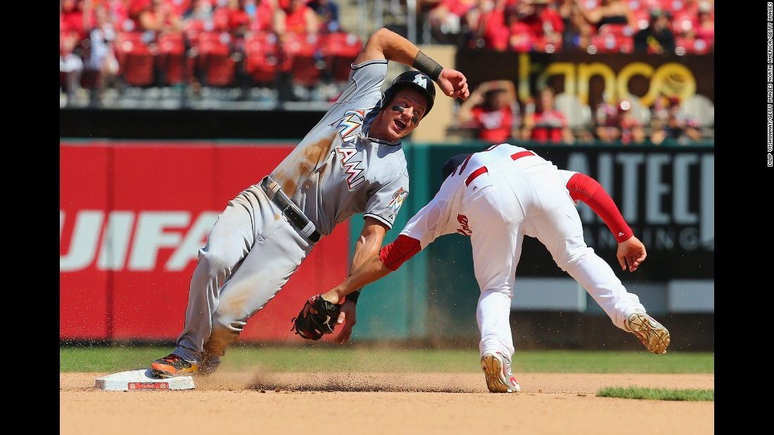 Miami's Derek Dietrich is caught stealing second base during a Major League Baseball game in St. Louis on Sunday, August 16.